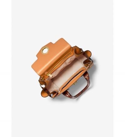 MICHAEL Michael Kors Carmen Small Color-Block Embossed Leather Belted Satchel