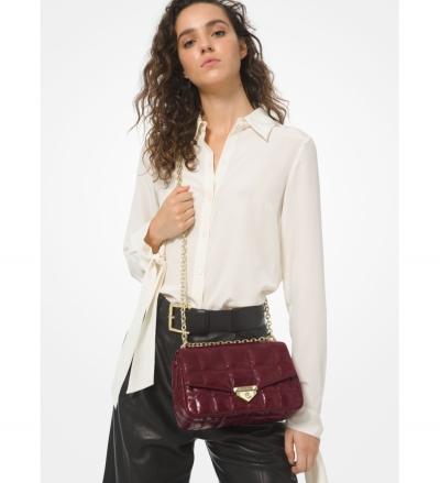 MICHAEL Michael Kors Soho Large Quilted Crinkled Leather Shoulder Bag