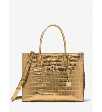 MICHAEL Michael Kors Mercer Metallic Embossed-Leather Tote