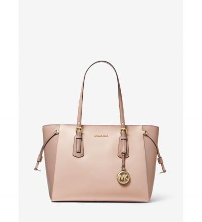 MICHAEL Michael Kors Voyager Medium Two-Tone Crossgrain Leather Tote Bag