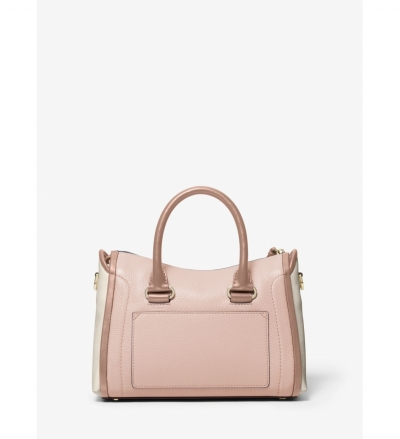 MICHAEL Michael Kors Carine Small Color-Block Pebbled Leather Satchel
