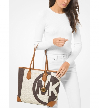 MICHAEL Michael Kors Eva Large Two-Tone Logo Tote Bag