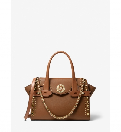 MICHAEL Michael Kors Carmen Small Studded Saffiano Leather Belted Satchel