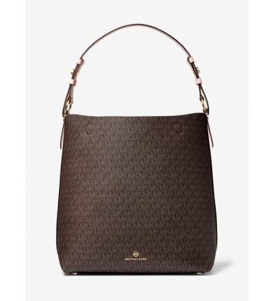 MICHAEL Michael Kors Lucy Large Logo and Leather Shoulder Bag