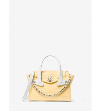 MICHAEL Michael Kors Carmen Extra-Small Two-Tone Crocodile-Embossed Leather Belted Satchel