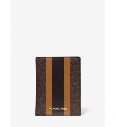 MICHAEL Michael Kors Bedford Travel Medium Logo Stripe Passport Wallet