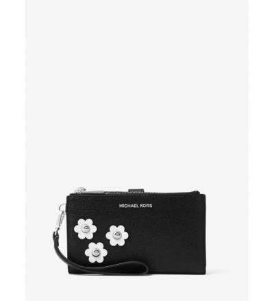 MICHAEL Michael Kors Adele Floral Appliqué Leather Smartphone Wristlet