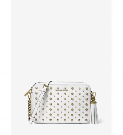 MICHAEL Michael Kors Ginny Medium Studded Pebbled Leather Crossbody Bag