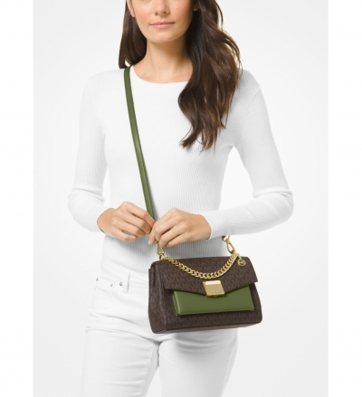 MICHAEL Michael Kors Lita Medium Two-Tone Logo Crossbody Bag