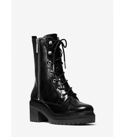 MICHAEL Michael Kors Anaka Crinkled Leather Combat Boot