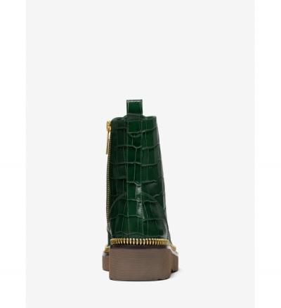 MICHAEL Michael Kors Haskell Crocodile Embossed Leather Combat Boot