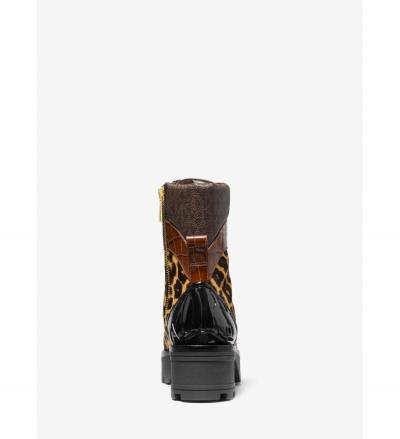 MICHAEL Michael Kors Khloe Mixed-Media Combat Boot