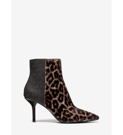 MICHAEL Michael Kors Katerina Leopard Print Calf Hair and Logo Ankle Boot