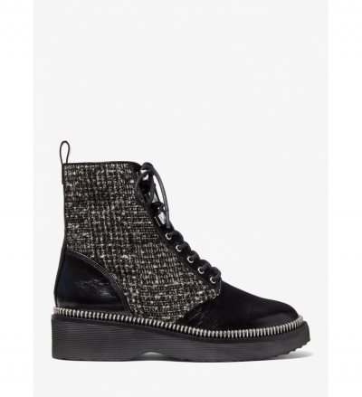 MICHAEL Michael Kors Haskell Crinkled Leather and Metallic Bouclé Combat Boot