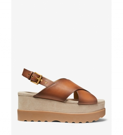 MICHAEL Michael Kors Becker Burnished Leather Flatform Sandal