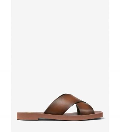 MICHAEL Michael Kors Glenda Burnished Leather Slide Sandal