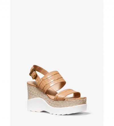 MICHAEL Michael Kors Rhett Crocodile-Embossed Leather Wedge Sandal