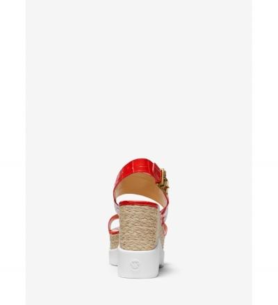 MICHAEL Michael Kors Rhett Crocodile-Embossed Leather Wedge Sandal