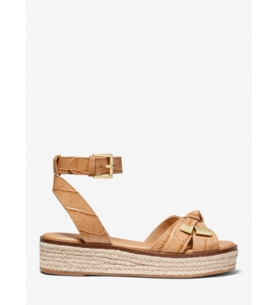 MICHAEL Michael Kors Ripley Crocodile-Embossed Leather Espadrille Sandal