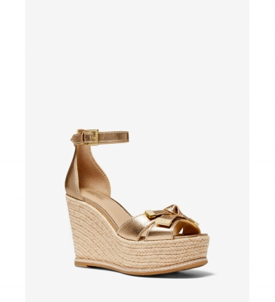 MICHAEL Michael Kors Ripley Metallic Leather Wedge Sandal