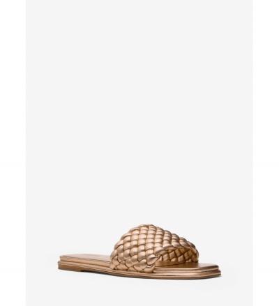 MICHAEL Michael Kors Amelia Metallic Braided Slide Sandal