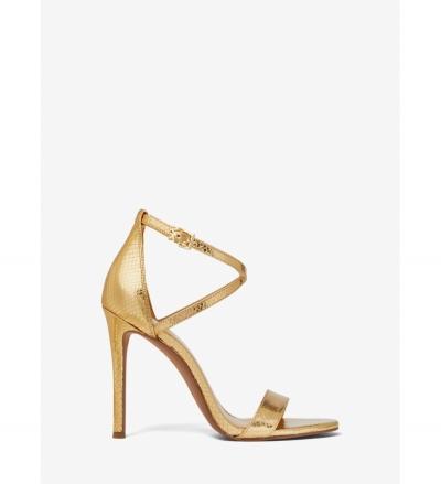MICHAEL Michael Kors Antonia Metallic Python Embossed Leather Sandal