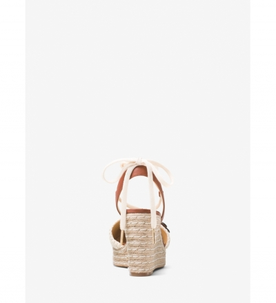 MICHAEL Michael Kors Kit Lace-Up Macramé and Leather Wedge