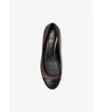 MICHAEL Michael Kors Dylyn Logo and Leather Ballet Flat