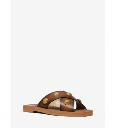 MICHAEL Michael Kors Glenda Studded Burnished Leather Slide Sandal