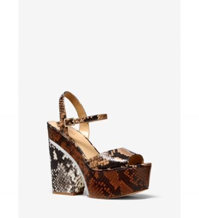 MICHAEL Michael Kors Lana Color-Block Python Embossed Leather Wedge Sandal