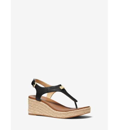 MICHAEL Michael Kors Laney Saffiano Leather Espadrille Wedge Sandal