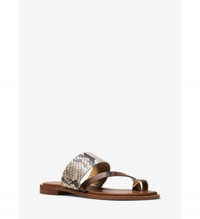 MICHAEL Michael Kors Pratt Two-Tone Python Embossed Leather Sandal