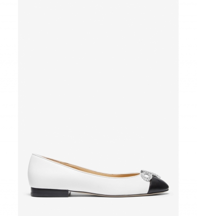 MICHAEL Michael Kors Posey Bow Embellished Leather Ballet Flat