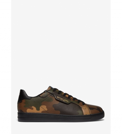 Michael Kors Mens Keating Camouflage Leather Sneaker