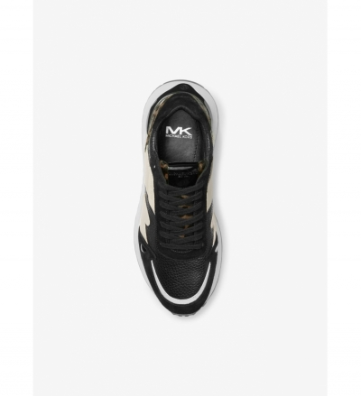 Michael Kors Mens Miles Leather and Calf Hair Trainer