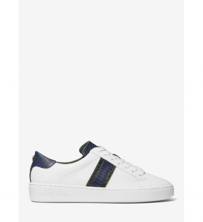 MICHAEL Michael Kors Irving Leather and Embossed Stripe Sneaker