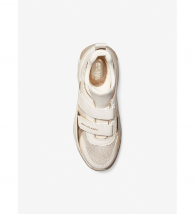 MICHAEL Michael Kors Keeley Glitter Chain-Mesh and Leather Trainer