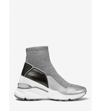 MICHAEL Michael Kors Mickey Metallic Stretch Knit and Embossed Leather Sock Sneaker