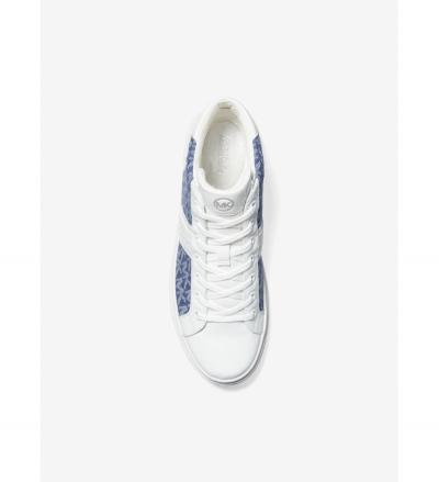 MICHAEL Michael Kors Chapman Logo Jacquard and Crocodile Embossed Leather High-Top Sneaker