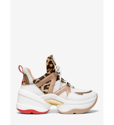 MICHAEL Michael Kors Olympia Leopard Calf Hair and Leather Trainer