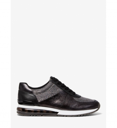 MICHAEL Michael Kors Allie Extreme Leather and Glitter Chain-Mesh Trainer