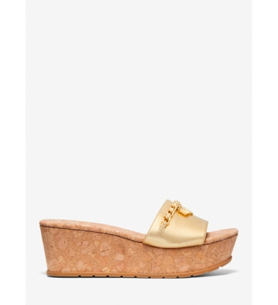 MICHAEL Michael Kors Elsa Metallic Leather and Cork Platform Sandal