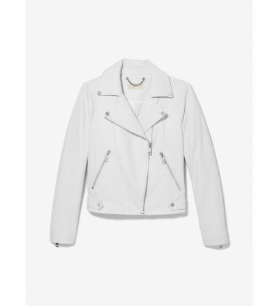 MICHAEL Michael Kors Pebbled Leather Moto Jacket