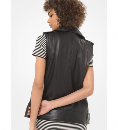 MICHAEL Michael Kors Leather Moto Vest