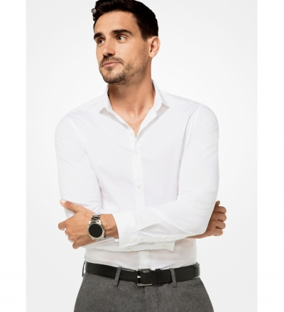 Michael Kors Mens Slim-Fit Stretch-Cotton Shirt