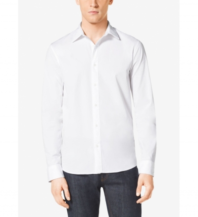 Michael Kors Mens Tailored-Fit Stretch-Cotton Shirt