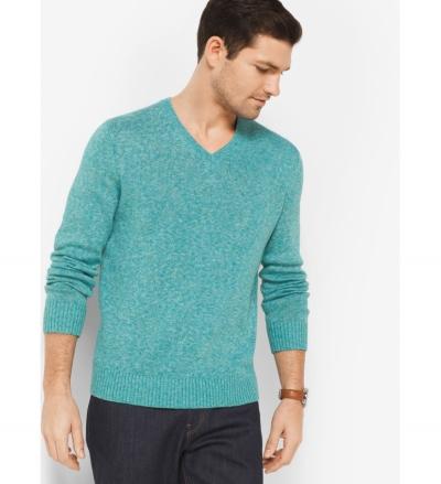 Michael Kors Mens Linen and Cotton V-Neck Pullover