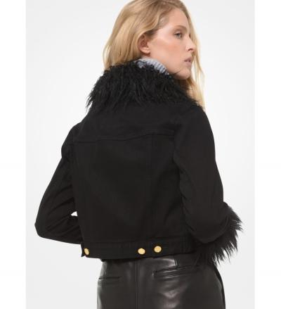 MICHAEL Michael Kors Faux Fur Trim Cropped Denim Jacket