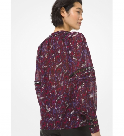 MICHAEL Michael Kors Paisley Georgette and Lace Poet-Sleeve Blouse