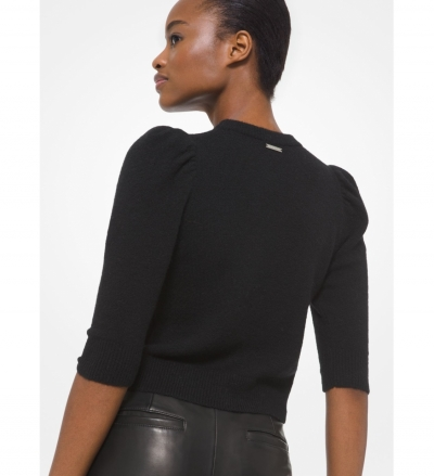 MICHAEL Michael Kors Knit Puff Sleeve Cropped Sweater